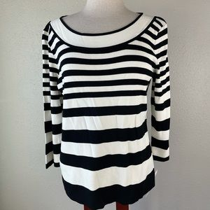 NWT Emma James Black and White Striped Blouse Top